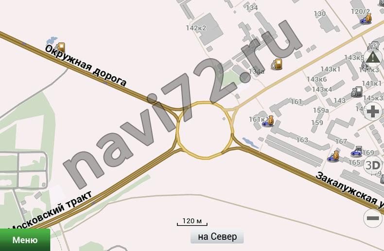 Официальная карта Навител 2012 Q3 Тюмень, Кольцо Московского тракта, окружная дорога, Закалужская