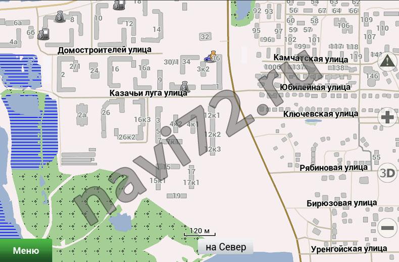 Официальная карта Навител 2012 Q3 Тюмень, Лесобаза, Домостроителей, Казачьи Луга, Камчатская, Юбилейная, Ключевская, Рябиновая, Бирюзовая, Уренгойская